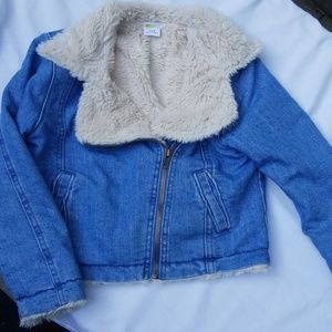 Crazy 8 Girls faux fur lined Jean jacket